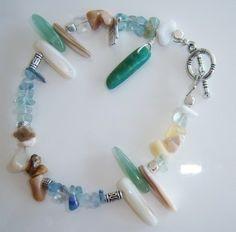 Bracelet en chips de fluorite   jaspe  nacre amazonite