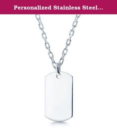 """Personalized Stainless Steel Dog Tag with Choise of 18 to 26"""" Solid Rolo Chain - Free Engraving. Quality stainless steel necklace made for his or hers. you can personalized your own engraving at no extra cost. once you place the order contact the seller."""