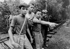 Will Wheaton, River Phoenix, Jerry O'Connell and Corey Feldman in Stand by Me