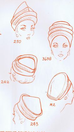 1960's hats fashion sketch