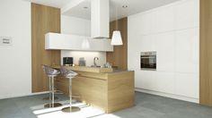Kuchnia w nowoczesnym stylu z okapem kuchennym Toredo White 40.3 Eko Max marki GLOBALO