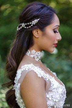 This gorgeous headpiece adds a touch of boho to a polished look! | Photography By: Krista Fox Photography | WedLuxe Magazine | #WedLuxe #Wedding #luxury #weddinginspiration #luxurywedding #dessert #dessertdesign #headpiece