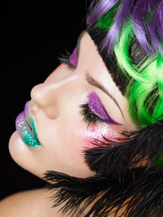 Purple and Green Matching Eyes and Lips