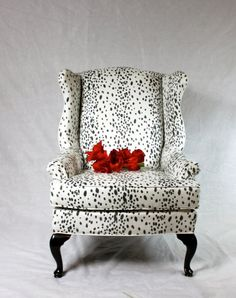 SOLD- Dalmatian Fabric Faux Suede Wing Back Chair Animal Print Black and White Snow Leopard