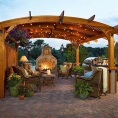 Entire Outdoor Room Package: Pergola, Fireplace, Grill Island, Furniture & More