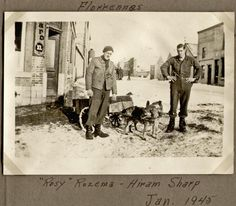 """, 1945 - Florennes, Belgium - """"Rosy"""" Rozema - Hiram Sharp Dogs pulling a cart in the snow. Belgium, Wwii, Air Force, Cart, Snow, Group, Dogs, Painting, Covered Wagon"""