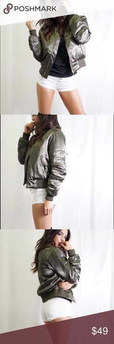 GORGEOUS OLIVE GREEN SATIN BOMBER JACKET SPRING! Gorgeous mid weight Olive Green Satin Bomber Jacket Slightly Cropped - perfect for layering now in spring and for cool summer days and nights and definitely a hot color for fall. Get so much wear! 2 side zip pockets. 1 arm zip pocket. Zipper front. Elastic cuffs and trim. Jackets & Coats