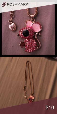 Pink Mouse Necklace Betsey Johnson mouse necklace. Missing two jewels on ear (see picture). Betsey Johnson Jewelry Necklaces