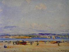 Eliseo Meifrén Roig. En la playa. Óleo sobre lienzo. Firmado. 60 x 81 cm. Ausa, p. 358. Subastas Brok, Barcelona, mayo de 1982.