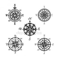 Navigation marine compass or Wind Rose vector icons. Isolated symbols set of nautical retro navigator compass with winds names of East, West, North and South arrows for ship travel design , Mandala Compass Tattoo, Nautical Compass Tattoo, Compass Art, Compass Icon, Compass Tattoo Design, Compass Rose, Couples Tattoo Designs, Tattoo Sleeve Designs, Star Tattoos
