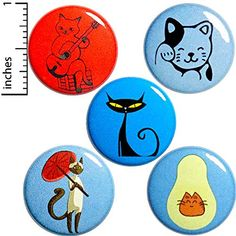 Cute Kitty Cat Buttons Pins for Backpacks or Jackets Lapel Pins Lucky Cat Kitty Playing Guitar Avocado Cat Adorable Fun 5 Pack Gift Set 1 Inch Funny Buttons, Cool Buttons, Cat Lover Gifts, Cat Gifts, Backpack For Teens, Teen Backpack, Cute Stockings, Cat Pin, Lapel Pins