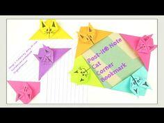 Paper Crafts - Origami Cat- Post-It® Note Crafts - DIY Origami Cat Bookm...