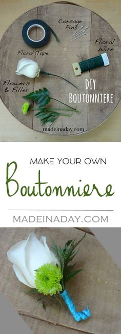 How to Make a Simple #Boutonniere using real flowers and silk. Learn how florists make boutonniere's for #weddings #proms etc.