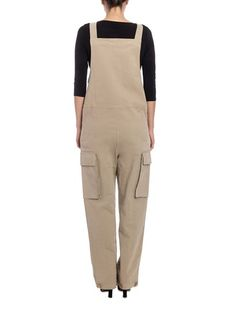 Gabardina overall Color: beige Copper-colored details Adjustable shoulder straps Side slit pockets Patch pockets Adjustable bottom with hooks Front snap buttons closure - See by Chloé - Stretch cotton overall
