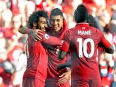 20180826 Liverpool Brighton & Hove Albion - Mohamed Salah, Roberto Firmino and Sadio Mané (Peter Powell/Reuters) Mohamed Salah, Fc Liverpool, Liverpool Football Club, Wolverhampton, Bournemouth, Leicester, Southampton, Manchester City, Arsenal