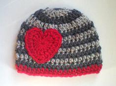 PATTERN:  Valentine hat crochet pattern, size nb-adult, striped heart beanie, InStAnT DoWnLoAd, Permission to Sell