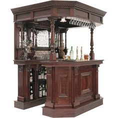 For those of you who consider yourself part of the traditional drinking crowd, then the Victoria Canopy Bar will surely appeal. No over the top chrome, no flashing lights; this mahogany bar features hand carved detailing. For the serious bar man! Basement Bar Designs, Home Bar Designs, Victorian Bar, Victorian Homes, Corner Bar, Bar Furniture, Bars For Home, Home Furnishings, My House
