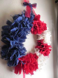 lantern decor for fourth of july   Burlap Wreath - Fourth of July - Rustic Decor American Flag Wreath