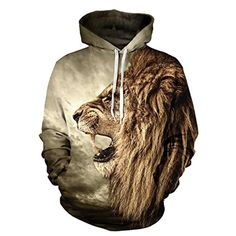 Fashion 3D Lion Hoodies Harajuku Sweatshirt Casual Pullover-L - Brought to you by Avarsha.com