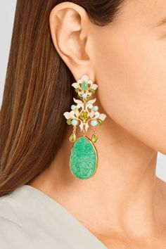 Percossi Papigold-plated multi-stone earrings 2080 chrysoprase, turquoise, peridot, seed pearls, jadeite drop