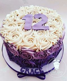 Purple ombre buttercream swirl cake rose swirls piping from www.facebook.com/bluestarbakes
