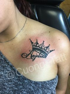 Fine Line Lettering With Crown Tattoo