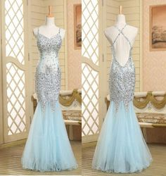 blue Prom Dress,long Prom Dress,beading Prom Dress,mermaid Prom Dress,tulle prom Dress, PD08