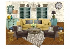 mustard & teal, never would have put them together but love the look!