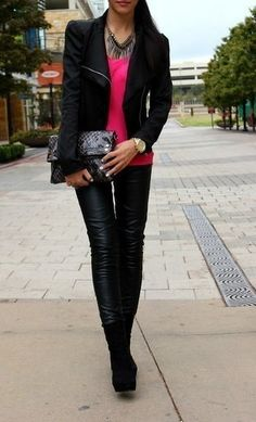 Inspiration Look - LoLoBu - I like the leather pants/leggings in contrast with the bright top.