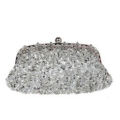 Artone Womens Silver Sequins Rhinestones Frame Evening Bag >>> Click on the image for additional details.