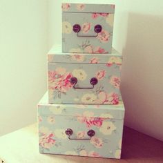 Decorative storage boxes for extra items! & Vintage Prints Beautiful Boxes - This is my bedspread. | ? A Rose ...