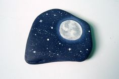 BIG 3 DAY SALE Starry Night Sky Painted Rock Paperweight, Home Decor, Office Supply