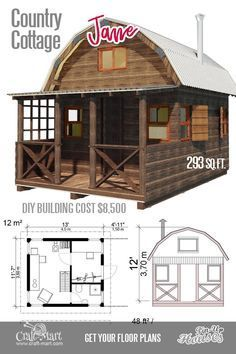 Small log cabins are the best options for a small vacation or hunting place. Small cabin kits are affordable. Small log cabins are the best options for a small vacation or hunting place. Small cabin kits are affordable. Unique Small House Plans, Small Cottage Plans, Cute Small Houses, Small Cabin Plans, Small House Floor Plans, Cottage House Plans, Cottage Homes, Small Cabins, Small Cottages