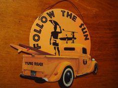 """Surfer boys room decor --- """"Follow the Sun"""""""