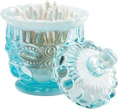 "Mosser Eyewinker Vanity Jar: Raised up on 4 scrolled legs, this 5"" Mosser jar is perfect for your bathroom's vanity as it's well-suited for holding everything from cotton swabs to cotton balls."