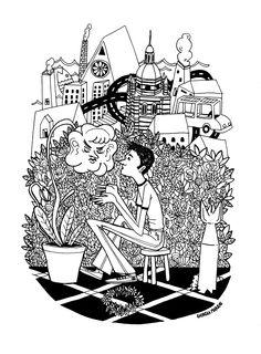 """Illustration for """"Nella mia ora d'aria"""". Story by Sara de Martino and Illo by Giorgia Marras. www.giorgiamarras.com"""