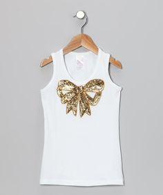Take a look at this White & Gold Sequin Bow Tank - Toddler & Girls on zulily today!