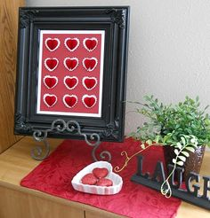 Valentines Decor ~ I've never really decorated a lot for Valentines, I usually just put a few things out ~ Love how simple this is