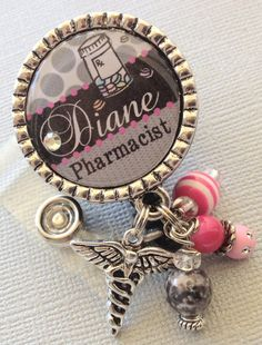 Pharmacy Technician ID Badge Reel Personalized Name by buttonit, $19.00
