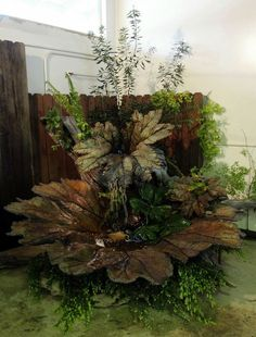 Carolyn J. Yaschur  |  Kitsap Sun  This concrete fountain was cast from real gunnera leaves and measures 99 inches across.