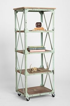 All Things Coastal Sea Glass| Serafini Amelia| [Open Display Case] Factory  Rolling Bookcase