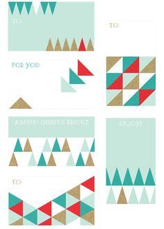 Free Printable | Geometric Holiday Gift Tags