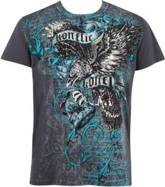 d5173131b0b04 Eagle Clutching Crown Metallic Silver Embossed Short Sleeve Crew Neck  Cotton Mens Fashion T-Shirt