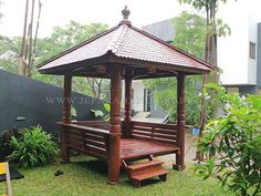 First major building project in Hawaii will be a Bali-style hut. Really can't wait to make the space our own :) Garden Nook, Terrace Garden Design, Backyard Patio Designs, Backyard Landscaping, Pergola Swing, Gazebo, Outdoor Rooms, Outdoor Living, Pool Houses
