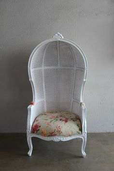 Superior French Canopy Chair With Rattan Frame And Country Like Flowered Fabric .