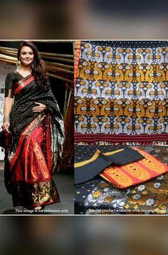 Assam Silk Saree, Silk Sarees, Black And Red Saree, Lehenga Saree, Celebrity Look, Saree Styles, Beautiful Saree, Clothes For Women, Exclusive Collection