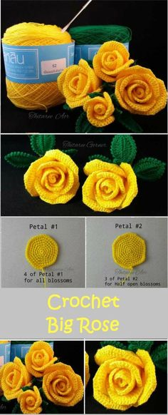 Flower Afghan Block ,Crochet Afghan Blanket,Easy Crochet Rose,Free Crochet Pattern, For You - Diy And Crafts Crochet Puff Flower, Knitted Flowers, Crochet Flower Patterns, Cute Crochet, Crochet Motif, Crochet Crafts, Crochet Yarn, Crochet Stitches, Crochet Projects