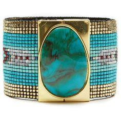 Hipanema Bella Bracelet (£64) ❤ liked on Polyvore featuring jewelry, bracelets, green jewelry, tribal jewellery and tribal jewelry