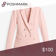 """trophy pink double breasted blazer jacket -Color on label is """"Ballerina""""  -Fully lined  -Shell: 63% Polyester, 33% Rayon, 4% Spandex  -Lining: 100% polyester  -Buttons are a faint gold color, might appear silver.  -Peaked lapels  -Approximate measurement in inches: Size 8: Bust 39, Waist 34, Length in front 26.5 Size 10: Bust 41, Waist 35, length 27.5 Size 12: Bust 42.5, waist 36.5, length 27.5 Size 14: Bust 44, waist 38, length 28 White House Black Market Jackets & Coats"""