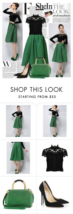 """""""Green Plaid Skirt"""" by lejlayavuz ❤ liked on Polyvore featuring Alice + Olivia, Hare+Hart, Jimmy Choo, Chanel and shein"""